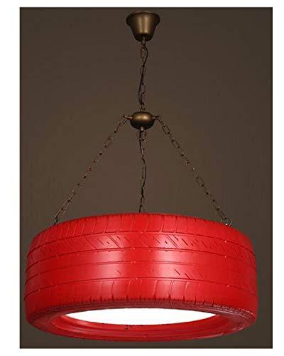 RXM Industrieller Wind Tricolor Kronleuchter LED Retro-Beleuchtung Kreative Gym Internet Cafe Hair Salon Reifen-Rad-Deckenleuchten [Effizienzklasse A ++] (Color : Red)