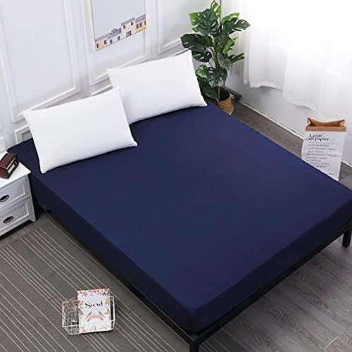 DSman Protector de colchón - cubrecolchón Transpirable Sábana Pure Color Comfortable-Navy_180 * 200 * 30cm