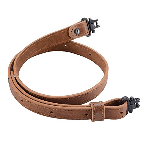 "Raiseek Rifle Gun Sling Buffalo Hide Leather with Mil-Spec Swivels,Durable Gun Strap, Metal Hardware 1"" Wide"