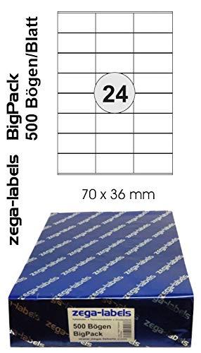 12.000 Etiketten 70 x 36 mm selbstklebend auf DIN A4 Bögen (3x8 Etiketten) - 500 Blatt Bigpack - Universell für Laser/Inkjet/Kopierer einsetzbar