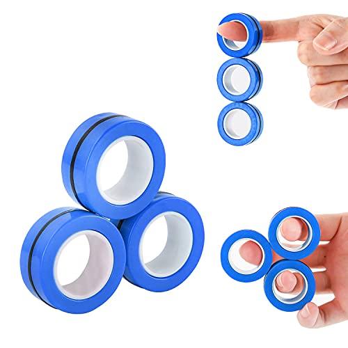 MILESTAR Fidget spinner magnetico per bambini e adulti, anelli da dito per ansia, giocattoli facili da indossare per alleviare lo stress, 3 pezzi (blu)