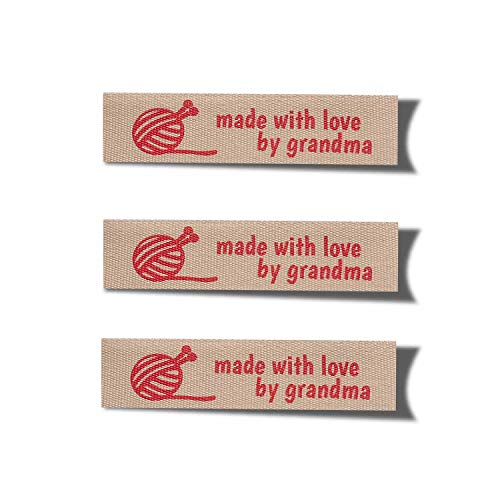 Wunderlabel Made with Love by Grandma Grandmother Knitting Symbol Craft Ribbons Cotton Woven Tag for Clothing Sewing Sew on Clothes Garment Fabric Embroidered Label Tags, Red on Cream, 25 Labels