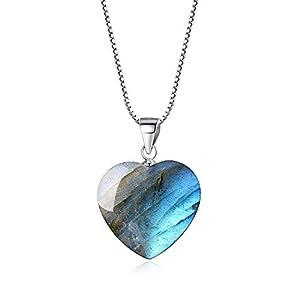 coai Geschenkideen Damen 925 Sterling Silber Glückskette mit Herz Anhänger Liebe Anhänger aus Labradorit Amulett Edelstein Halskette