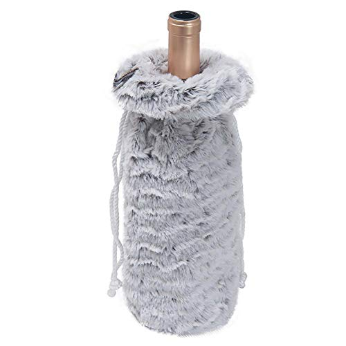 Kentop 4Stk Weihnachten Weinflaschen Beutel Tasche Tüten aus Plüschtuch, Schöne Weinflasche Säckchen für Sekt, Wein, Champagner, Prosecco, Whisky, Spirituosen Flasche (Willst du mit Mir Trinken?)