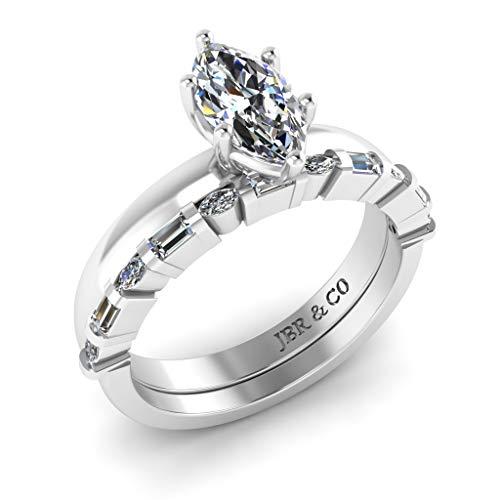 Jbr - Juego de anillos de compromiso de plata de ley con diamante solitario de corte marquesa