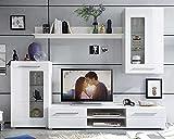 Möbel Jack Wohnwand Anbauwand Wohnzimmerschrank 4-TLG.   Weiß Hochglanz   Verglasung