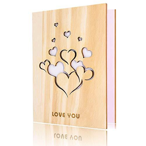 Creawoo - Tarjeta de felicitación de madera de nogal hecha a mano con caja de regalo, única, para cumpleaños, día de San Valentín, aniversario, idea de regalo, color Madera natural.