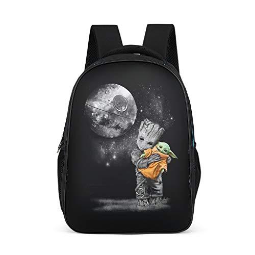 Unisex - Kinder Schultasche Baby Groot umarmt Yoda Kinderrucksack Buch Rucksack Wasserdicht Backpack Tagesrucksack für Kinder Junge und Mädchens 3-12 Grey OneSize