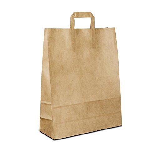 250 x Kraftpapiertüten braun 32+12x40 cm | stabile Tüten |Paper Bag Flachhenkel | Papiertüten Mittel | Papiertragetaschen | HUTNER