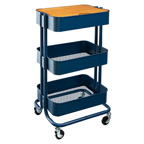 MATICO 3 Tier Metal Detachable Storage Side Table with Wheels Household Multifunctional Rolling Utility Cart with Board Navy Blue