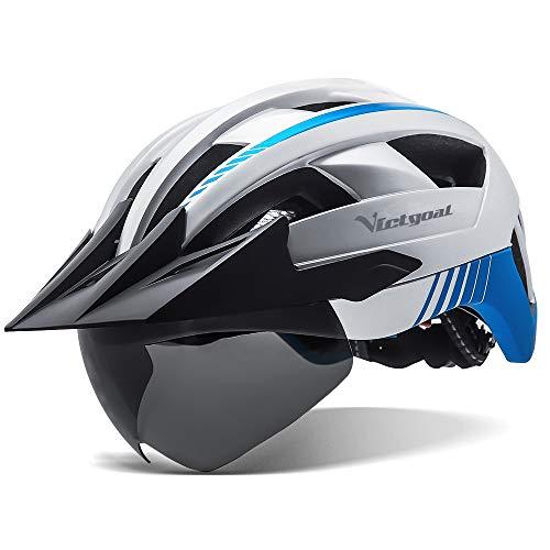 VICTGOAL Fahrradhelm MTB Helm mit Abnehmbarer Magnetische Schutzbrille Visier Atmungsaktiv mit 21 Belüftungskanäle Radhelm für Erwachsene Einstellbare Fahrradhelme (Silber)