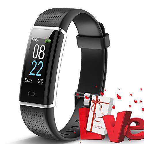 Lintelek Montre Connectée, Tracker d'Activité Cardiofréquencemètre avec Moniteur de Sommeil, Réveil, Notifications, Bluetooth Podomètre IP76 Etanche Montre GPS Connectée pour Femme Homme