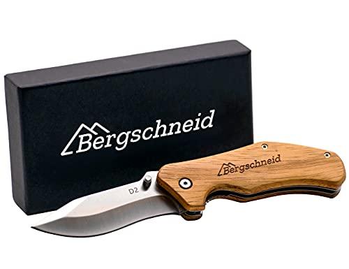 Bergschneid Taschenmesser/Klappmesser mit Holzgriff aus rostfreiem D2 Stahl, das perfekte Alltags und Outdoor Messer für Jagd, Angeln und Camping, als Einhandmesser und Zweihandmesser verwendbar