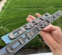 BBYT ワンピースブラックレターエンブレムカースタイリングサイドドア銘板ステッカーグランドグランドチェロキーカーアクセサリーブライトエッジ (Color : Grey x black edge, Style : 1pc for one side)