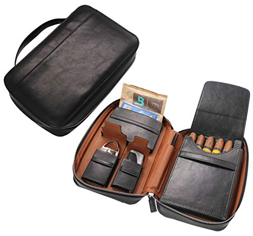 AMANCY Premium Black Leather 5 Holder Cigar Humidor Case,Elegant Cigar Bag Pouch with Several Inner Accessory Pockets, Specialized Cigar Cutter and Lighter Contained