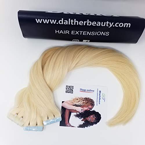CHEVEUX D'EXTENSION AVEC DALTHER BIADHESIVE, Couleur Blonde # 613, Lisses, 100% cheveux russes humains, 20 pouces / 50cm Dalther recommande 2 paquets pour faire le volume