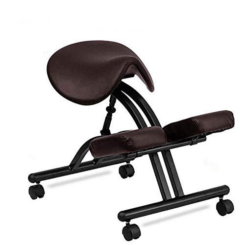 Zadelzitting Zadel Ergonomische Knielstoel Verstelbare Bureaustoel Corrigerende Houding Stoel Ruggengraatcorrectiestoel Orthopedische Werkstoel Met Katrol,Brown
