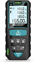 Laser Measure, Mileseey by RockSeed 165 Feet Digital Laser Distance Meter with 2 Bubble Levels,M/In/Ft Unit switching Backlit LCD and Pythagorean Mode, Measure Distance, Area and Volume (165 Feet)