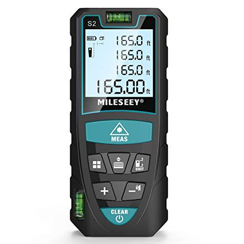 Laser Entfernungsmesser, MILESEEY 50m Distanzmessgerät mit 2 Blasenebenen, IP54 & LCD Hintergrundbeleuchtung m/in/ft/ft+in von Multimessmodus Pythagoras, Fläche, Volumen Automatische Berechnung, S2