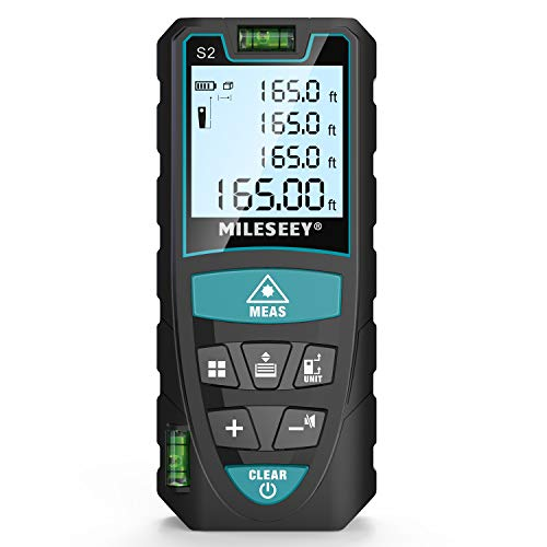 Laser Measure, Mileseey 165 Feet Digital Laser Distance Meter with 2 Bubble Levels,M/In/Ft Unit switching Backlit LCD and Pythagorean Mode, Measure Distance, Area and Volume (165 Feet)