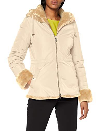 Geox W Kaula abrigo de pelo sintético, beige, 46 para Mujer