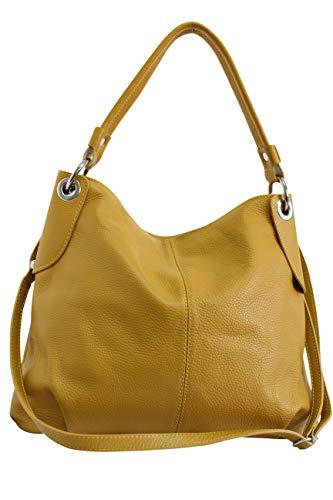 Ambra Moda GL012 - Borsa a tracolla da donna in vera pelle, Giallo (giallo senape), Large