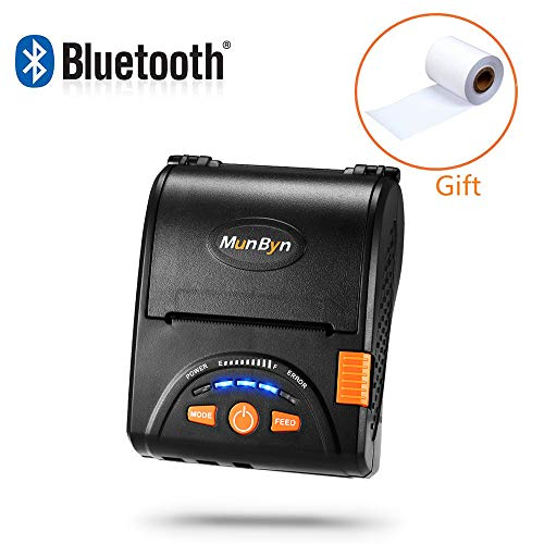 MUNBYN Android Bluetooth Mobile Thermal Receipt Printer, MUNBYN 2 Inches 58MM Impresora térmica Printer with Leather Belt for Business ESC/POS, Does NOT Support iOS Devices,Square