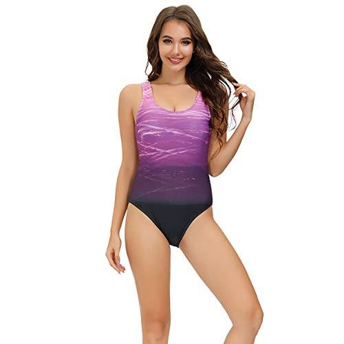 Bañadores de Mujer Traje de una Pieza con Relleno Bañador Push up Ropa de Baño Cintura Alta Size Gradiente de Color Cruz Atrás Slim Fit Cuerpo Atractivo Bañera Bikini (Purple, M(8-10))