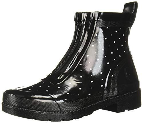 Tretorn Women's LINAZIP Rain Boot, Black/White, 6 M US