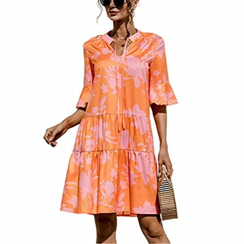 ZFQQ Vestido de Mujer de Color Liso con Costuras Acampanadas y Cuello en V de Primavera y Verano