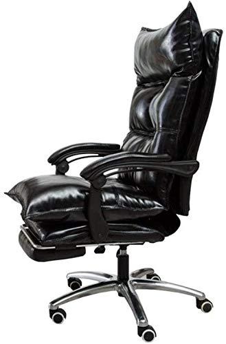 Schreibtisch Stühle, ergonomische Bürostuhl Computer Stuhl Verstellbarer Gaming Chair Drehstuhl Boss Stuhl Pull-Out Fußraste Sessel (Color : Black)