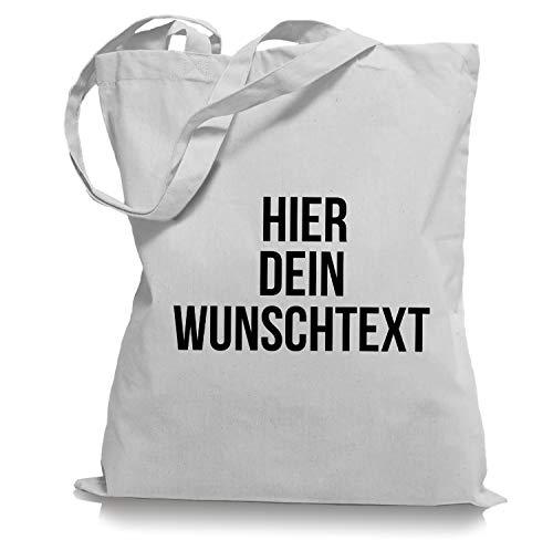 Stoffbeutel Jutebeutel mit Wunschtext/Selber gestalten mit dem Amazon T-Shirt Designer/Beutel Druck/Designertool Tragetasche/Bag/Jutebeutel WM1-white