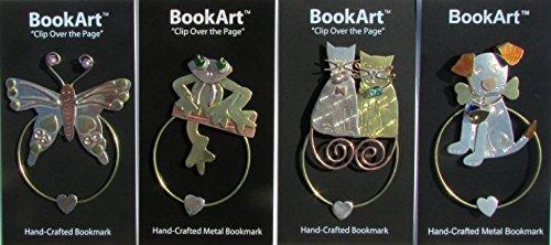 Metal Bookmark - Cat, Dog, Frog, Butterfly BookArt Bookmarks (Set of 4) - Best Gifts & Stocking Stuffers for Men Women Teachers & Librarians!