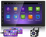 Hikity Android 2 DIN Radio de Coche GPS Navegación Bluetooth Autoradio 7 Pulgadas HD Pantalla Táctil Estéreo de Coche con WiFi FM USB Enlace Espejo + Cámara de Visión Trasera