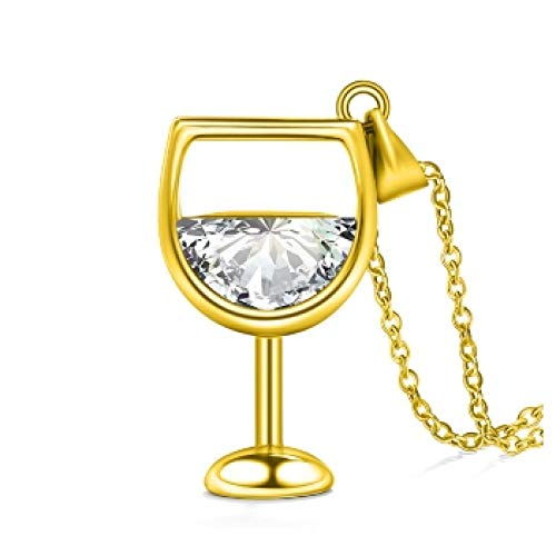 Rose Gold Silber Gold Weinglas Anhänger Kette Halskette für Frauen Schmuck
