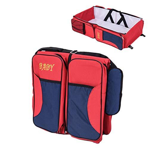 Bébé sac de maman, lit multifonctionnel portatif de lit de bébé de prévention de pression de lit de nouveau-né portatif multifonctionnel, 74 * 35 * 18CM (Couleur : Red)