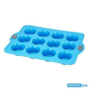 Crystal Bake SteelRim Silicone Muffin & Cupcake Baking Pan - 12 Cup - Blue
