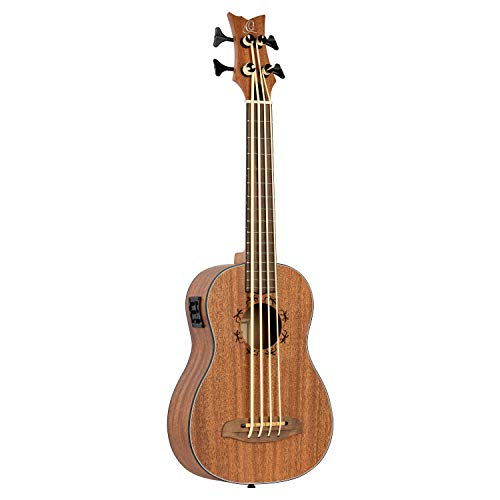 Ortega Guitars 4 String Lizard Series Acoustic-Electric Uke-Bass Com Bolsa, Direita (Lizzy-Bs-Gb)
