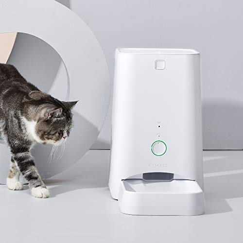 DOGNESS 6L Smart Feed Automatic Cat Feeder, Wi-Fi Enabled Pet Feeder for Cat and Small Dog, Smartphone App for iOS and Android, Portion Control, Fresh Lock System Auto Food Dispenser (White)