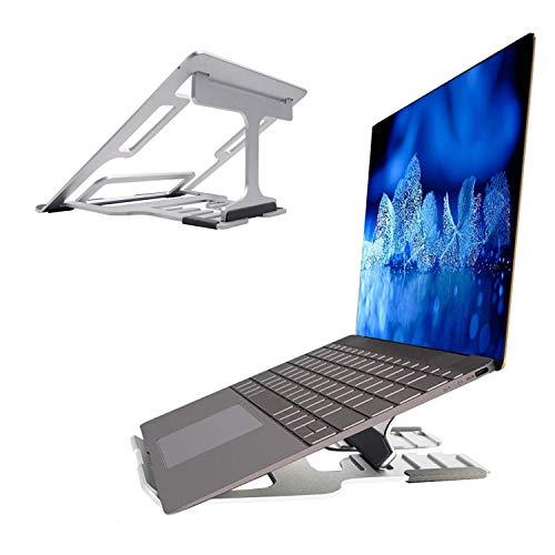 LONGING Soporte de ordenador portátil ajustable con 5 posiciones, soporte para ordenador portátil, soporte de ventilación para MacBook Surfac HP Dell Asus de 15 a 10 pulgadas, color plateado