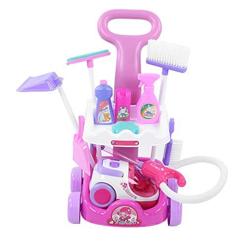 Gioco di ruolo per famiglie Gioco Giocattolo, Simulazione aspirapolvere elettrico Giocattolo, Carrello di pulizia Set di giocattoli educativi interattivi con luce e suono elettrici per bambini(pink)
