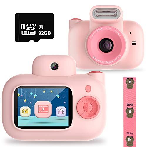 PTHTECHUS Cámara para niños, con SD de 32GB Tarjeta cámara de Video Digital para niños 1080P FHD, cámara de Regalo para niños de 3 a 10 años, Juguetes, niños y niñas, Rosa , Cumpleaños