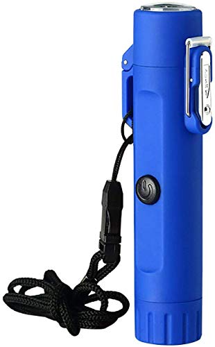 HHYSPA Encendedor eléctrico Llavero Conveniente Multifuncional Impermeable Encendedor para Exteriores de USB Encendedor sin Llama Recargable de Doble Arco con Linterna y brújula Blue