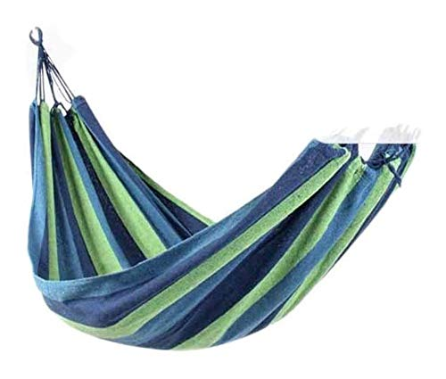 MXXS Garden hammock,Single & double rollover prevention Hammocks Outdoor/Garden Leisure Hanging Chair Swinging Hammock 107 (Color : Blue, Size : 190x100cm(75x43in))