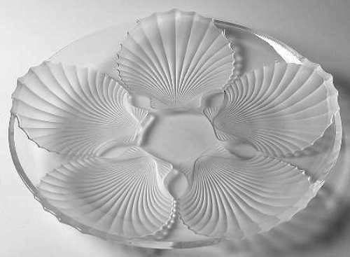 15' Frosted Shell Platter Plate by Gorham Clear Glass