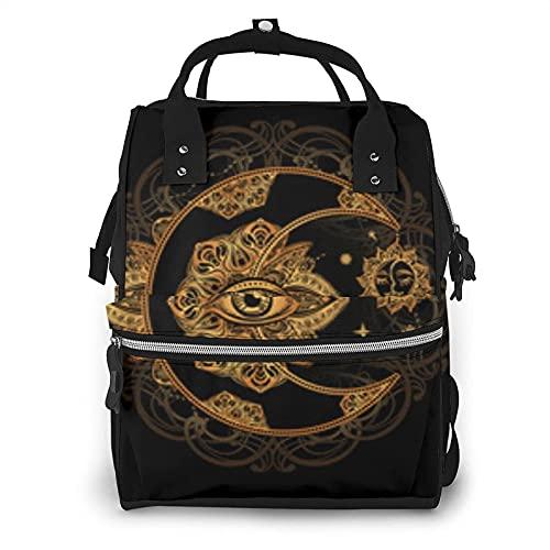 Mystic Golden Sun and Moon - Bolsa de pañales multifunción para el cuidado del bebé, impermeable, amplia mochila de viaje abierta para organización