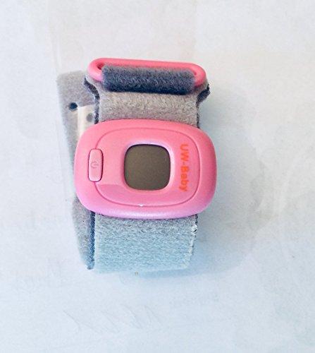 Unchained Warrior Nadający się do noszenia termometr dla niemowląt z certyfikatem Bluetooth - cyfrowy ciągły 24-godzinny monitor pod pachami (biały z niebieskim paskiem)