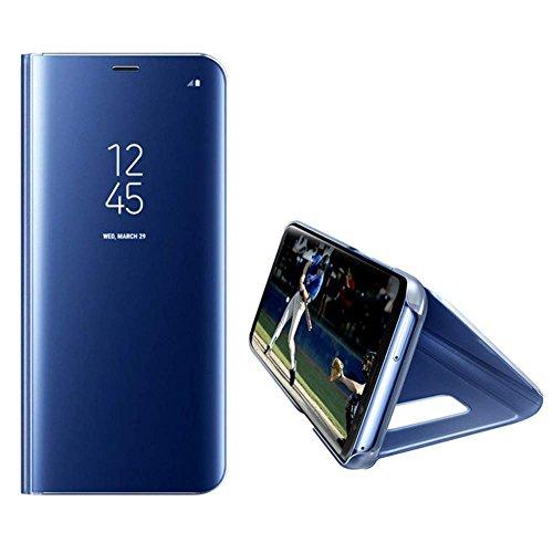 HMTECH Huawei Honor 20 Pro Hülle Schutzhülle Spiegel Makeup Plating Überzug Flip PU Leder im Bookstyle Hart PC Standfunktion Etui Hüllen für Huawei Honor 20 Pro,Blue Mirror PU - 2