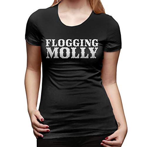 Celtic Punk Band Flogging Molly T-Shirts Tee for Women's Cute Women Ladies Basic Short-Sleeve Shirt Classic Crewneck Tee Shirt Top Wicking Clothes Large Black