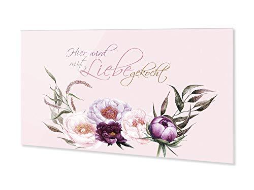 GRAZDesign Spritzschutz Küche Glas Pastellfarben mit Blumen, Nischenrückwand Herd Wand, Rückwand aus ESG Glas / 80x40cm